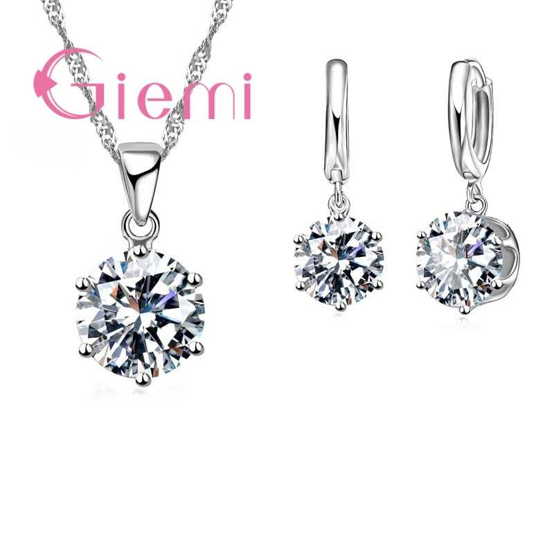 Various Colors Special Round Shape Hoop Earrings Necklace Pendant Hot Sell Cubic Zircon 925 Sterling Silver Jewelry Sets