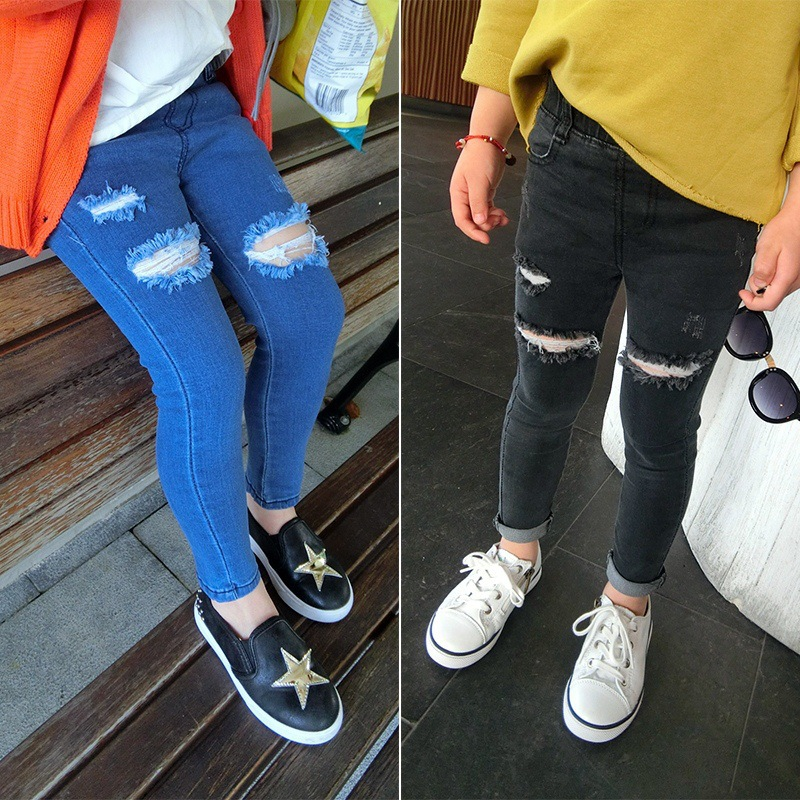 все цены на 2016 New Autumn Jeans Girls Kids Cotton Skinny Children Pants Girl Black/Blue Ripped Jeans for 2-8 Years Fashion Kids Jeans онлайн