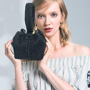 Image 5 - Brand Straw Bags for Women Beach Bag Personality Crossbody Lock Handbag Lady Vintage Handmade Knit Fashion Shoulder Bag
