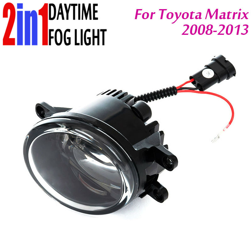 New Led Fog Light with DRL Daytime Running Lights with Lens Fog Lamps Car Styling Led Refit Original Fog for Toyota Matrix new led fog light with drl daytime running lights with lens fog lamps car styling led refit original fog for toyota venza