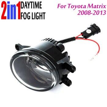 New Led Fog Light with DRL Daytime Running Lights with Lens Fog Lamps Car Styling Led Refit Original Fog for Toyota Matrix