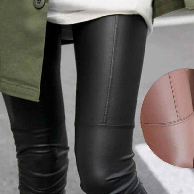 Women Pants Slim high Waist Leggings 2019 New Korean Fashion Casual Imitation Leather Fit Solid female Pantalon Trousers