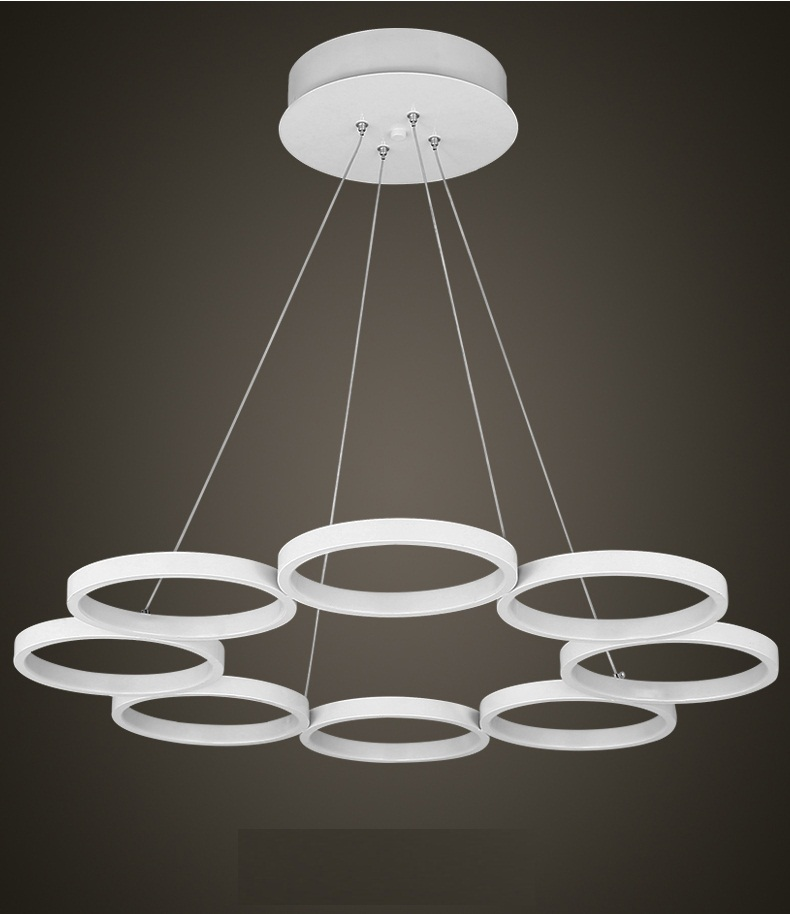 Modern LED 8 Ring Chandeliers White Finish Aluminum Living Room Hanging Lamp LED Chandelier Lustres