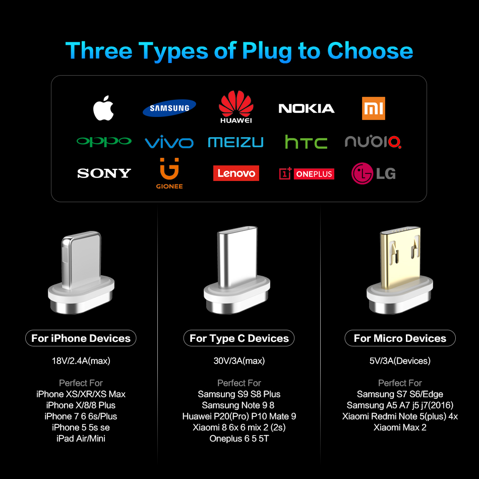 FLOVEME Magnetic Micro USB Type C Lightning Charging Cable For iPhone And Mobile Phones 6