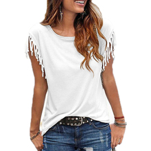 Women Cotton Tassel Casual T-shirt Sleeveless Solid Color MT