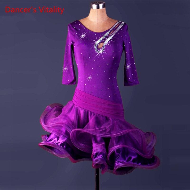Women latin dance dress 2018 new competition for girls kids ballroom costume adult for ladies women womens dancing tango samba