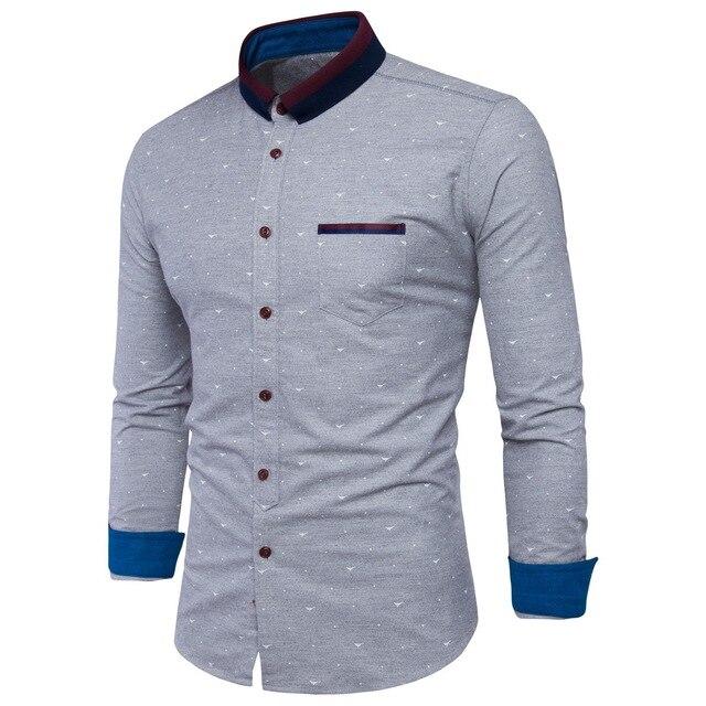 Animal Print Dress Clic Quality Men S Shirts Light Gray Casual Long Sleeve Shirt Soft Comfort Slim Fit Styles Brand
