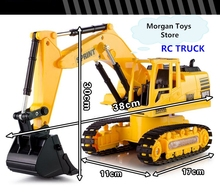 New RC engineering vehicles toys 1 24 Wireless Excavator 8 channel remote control excavator truck free