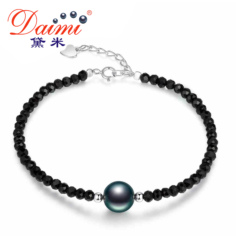 DAIMI Black Tahitian Pearl Bracelet 9-10mm Natural Black Pearl with S925 Silver Ball with 4-5mm Faceted Crystal BraceletDAIMI Black Tahitian Pearl Bracelet 9-10mm Natural Black Pearl with S925 Silver Ball with 4-5mm Faceted Crystal Bracelet