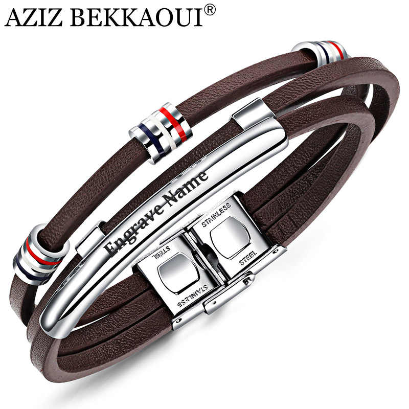 AZIZ BEKKAOUI Engrave Name Brown Leather Bracelet for Men Stainless Steel Bracelets Cowhide Bracelet Vintage Male Accessories