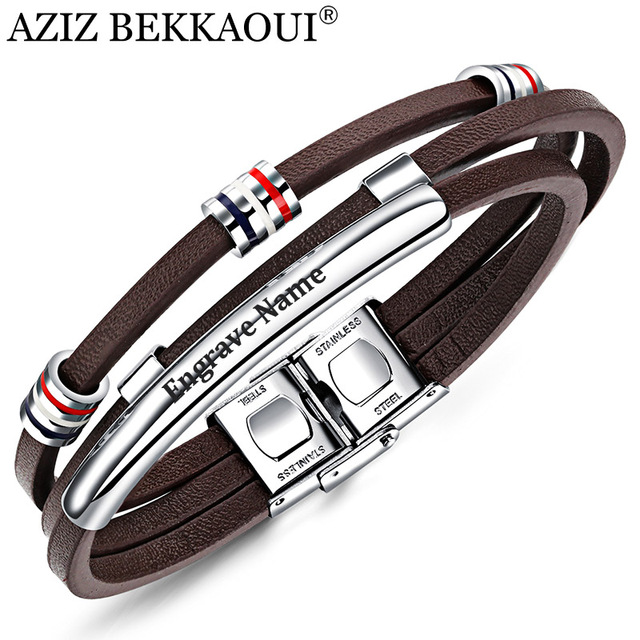 AZIZ BEKKAOUI Engrave Name Brown Leather Bracelet for Men Stainless Steel Bracel