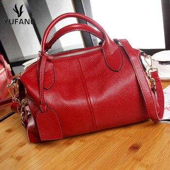 YUFANG Women Handbag Real Genuine Leather Women's Shoulder Messenger Bag Natural Cowhide Socialite Tote Purse Package