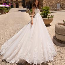 Fmogl Graceful Appliques Cap Sleeves A Line Wedding Dresses 2019 Delicate Beaded Princess Bridal Gown Vestido