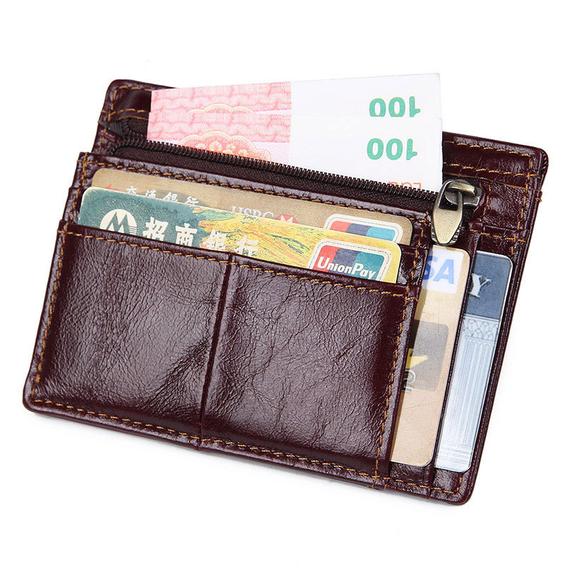 Cowhide Genuine Leather Rfid Men Card Wallet Mini Card Holder With Coin Pocket Men's Small Change Purse Thin Walet Slim Wallets