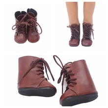 "7cm Dark Brown Boots 18"" Leather Shoes Doll Shoes Toy Accessories Dress Up Fit 43cm Baby Doll Accessories Girl Gift(China)"