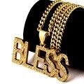 Homens Mulheres Banhado A Ouro Iced Out Jesus Deus ABENÇOE Charme Colares Pingentes de Cadeias De Cristal que bling Hip Hop Rappers Jóias Presentes