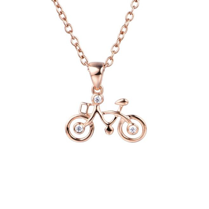 18K Gold Bicycle Polishing Crystal Bike DIY Necklace Pendant Jewelry Collier Femme Friends Gift 0.47G брелок dt tk0124 18k diy