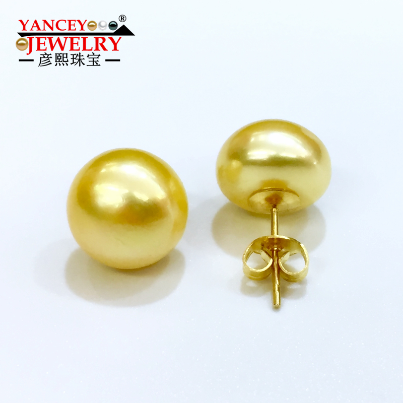 YANCEY Brand promotion Genuine freshwater pearl stud earrings for women,yellow natural pearl earrings 9k gold girl best gift 2018 new yancey original design fine pearl long tassel star luxurious drop earrings 9k gold inlay the style of the goddess