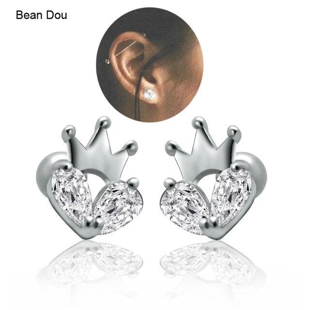 Womens Ear Studs Earrings Heart Crown Princess Stainless Steel Cubic Zirconia Small Plug Earrings 7x9