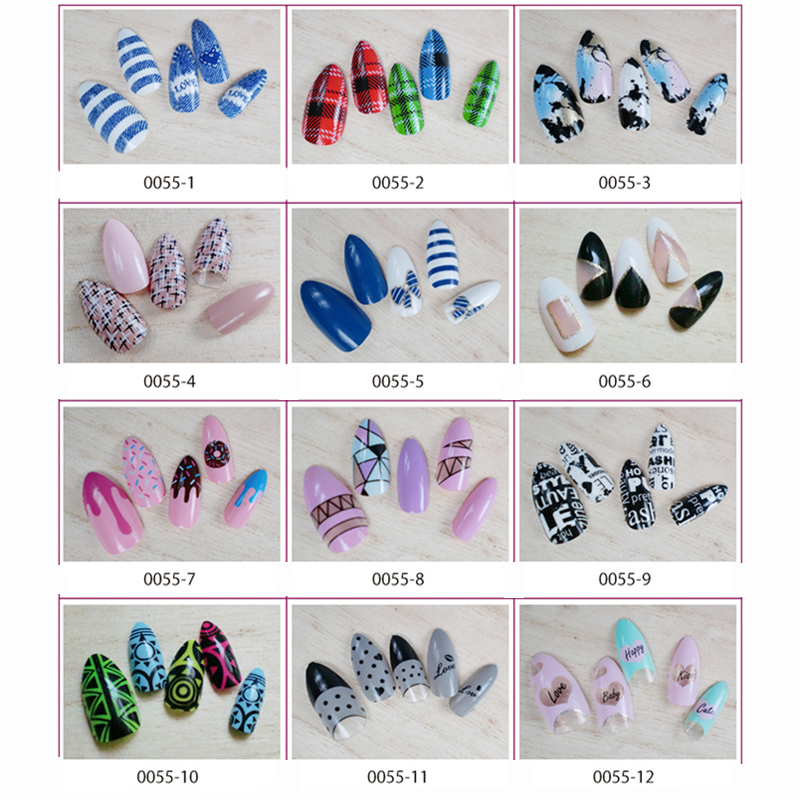 12 Designs False Nails With Glue Stiletto Nails Tips Fashion Style 24pcs/ Pack Long French Nail Art Tips Acrylic Full Shining ...