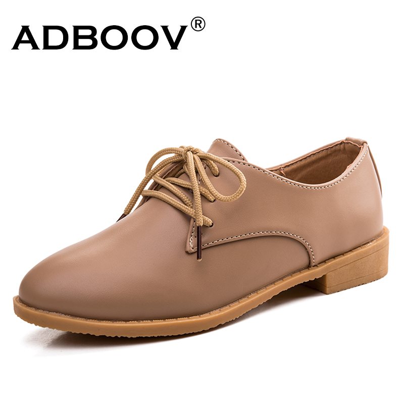 ADBOOV 2018 Genuine Leather Shoes Women Casual Oxford Shoes For Women Lace Up Flat Shoes Tenis Feminino Zapatos Oxford Mujer e lov women casual walking shoes graffiti aries horoscope canvas shoe low top flat oxford shoes for couples lovers