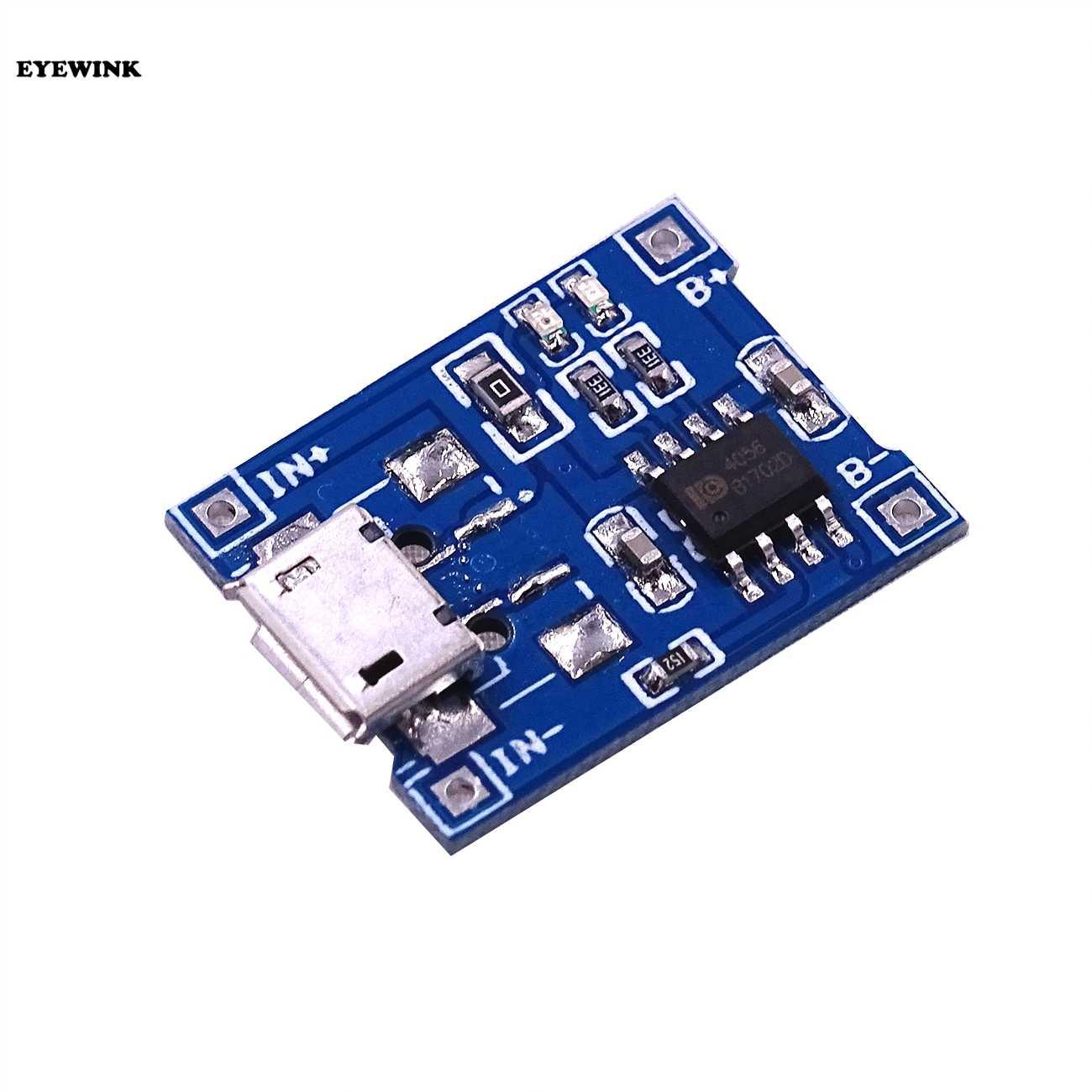 Eyewink 1 шт./лот Micro USB 5 V 1A 18650 TP4056 литий модуль зарядного устройства аккумулятора зарядная плата с двухканальная видеокамера с защитой функции