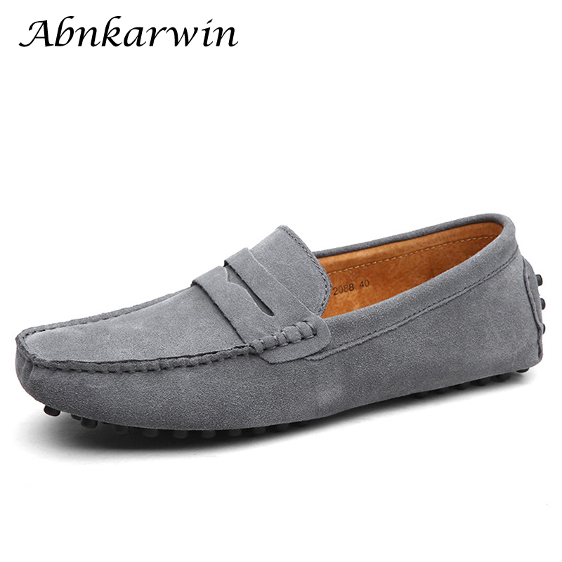 Brand Fashion   Suede   Loafers   Leather   Soft Moccasins Comfortable Driving Shoes   Suede   Mens Shoes Casual 10 Colors Plus Size 48 49