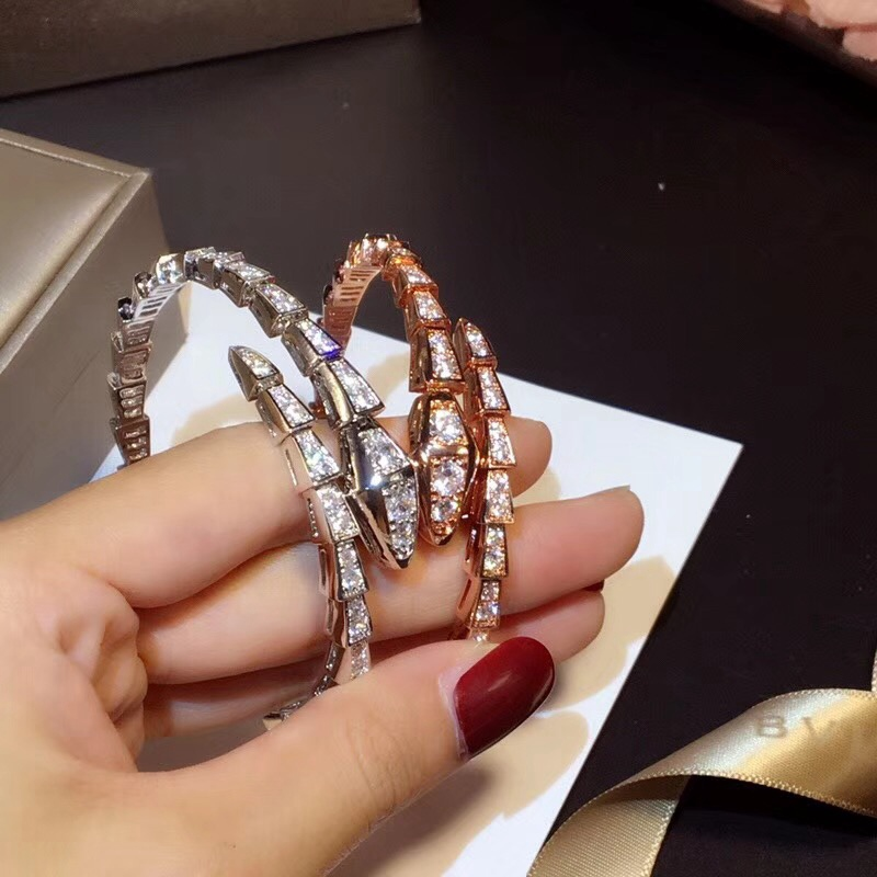 Hollow Simple Snake Animal Cuff Bangle Women Copper Alloy Rose Gold Spring Bangle Cuff Zircon Jewelry