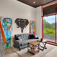 Elephant face Wall Decal Abstract Vinyl Sticker home Decor custom wall art graphics tattoo mural living room decal 34H X 41W