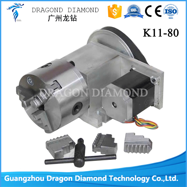 Factory price CNC Dividing Head, Rotary K11-80 Three Claw Chuck (4axis rotary axis for the cnc router cnc engraving machine) cnc 5 axis a aixs rotary axis three jaw chuck type for cnc router