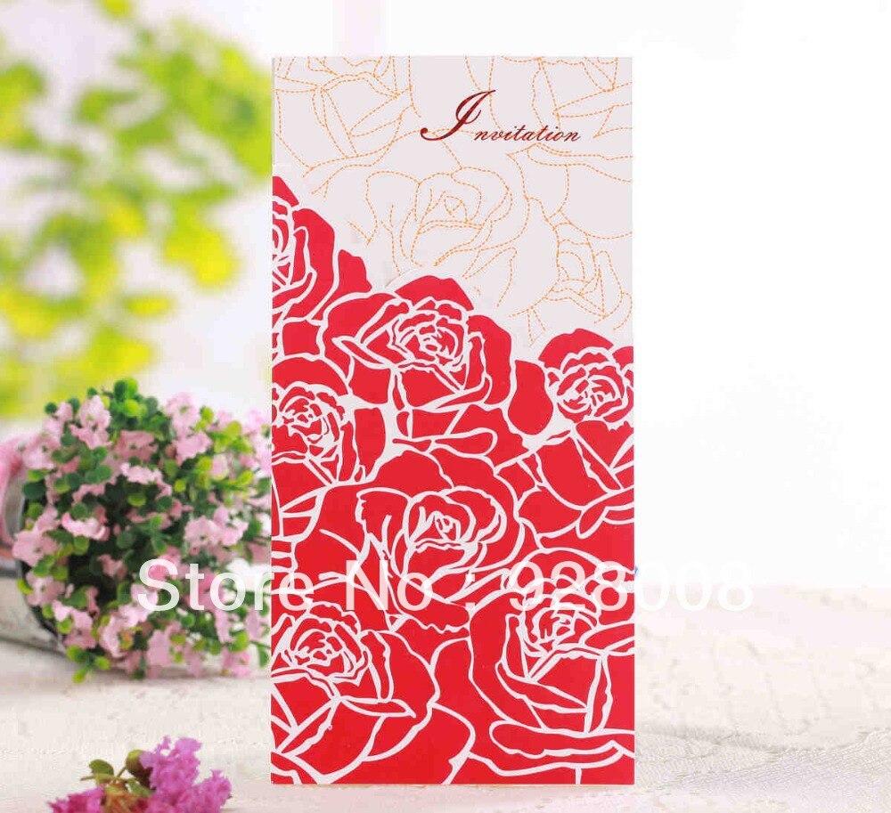 New 50pcs Laser Cut Flower Lace Pocket wedding invitation card ...