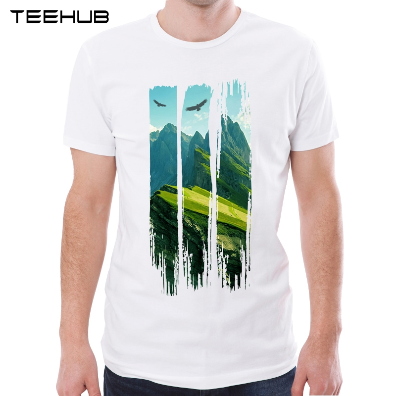 TEEHUB New Arrival 2019 Men Fashion Mountain Printed T-Shirt Short Sleeve Casual O-neck Tee Hipster Cool Tops