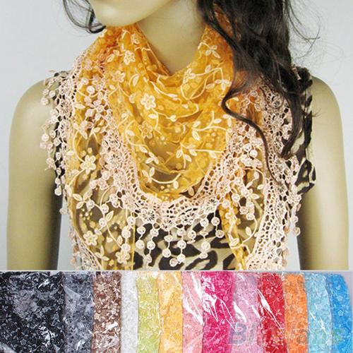 Hot Fashion Hollow Tassel Lace Rose Floral Knit Triangle Mantilla   Scarf   Shawl   Wrap   6RCV 7GMJ