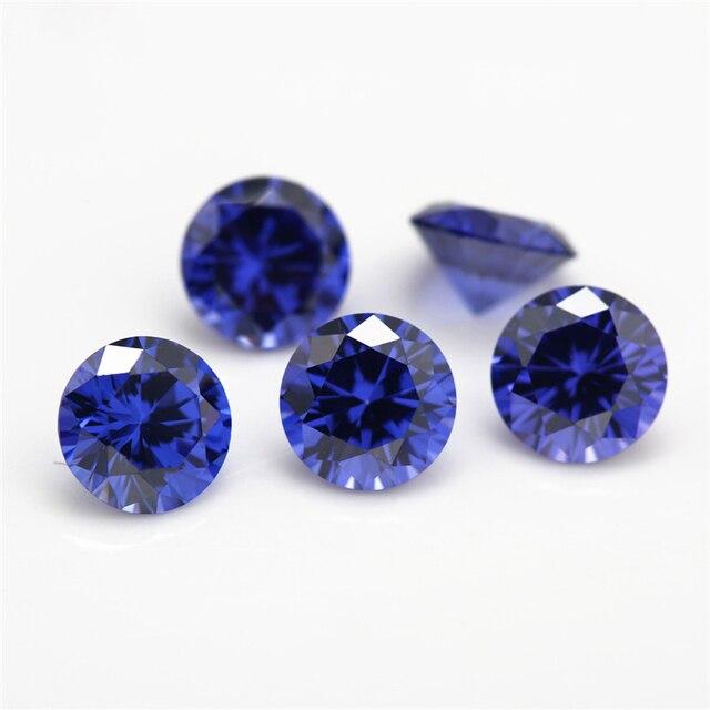 Размер 1 ~ 10 мм Синий Круглый фианит 5a искусственный Фианит