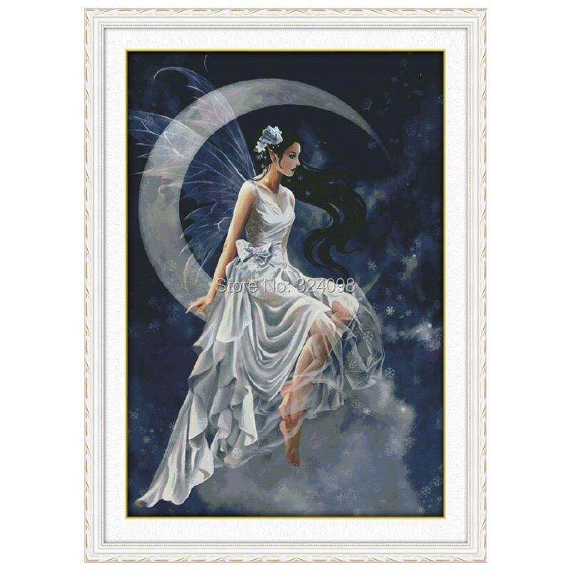 Couture en gros, point, point de croix 11CT 14CT, ensembles pour Kits de broderie, la fée de la lune (1) point de croix compté