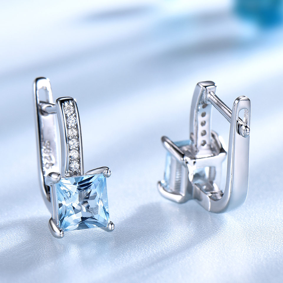 UMCHO conjunto de joyas de plata de ley 925 Nano aguamarina cielo azul Topacio anillo colgante pendientes de collar para las mujeres joyería fina - 4