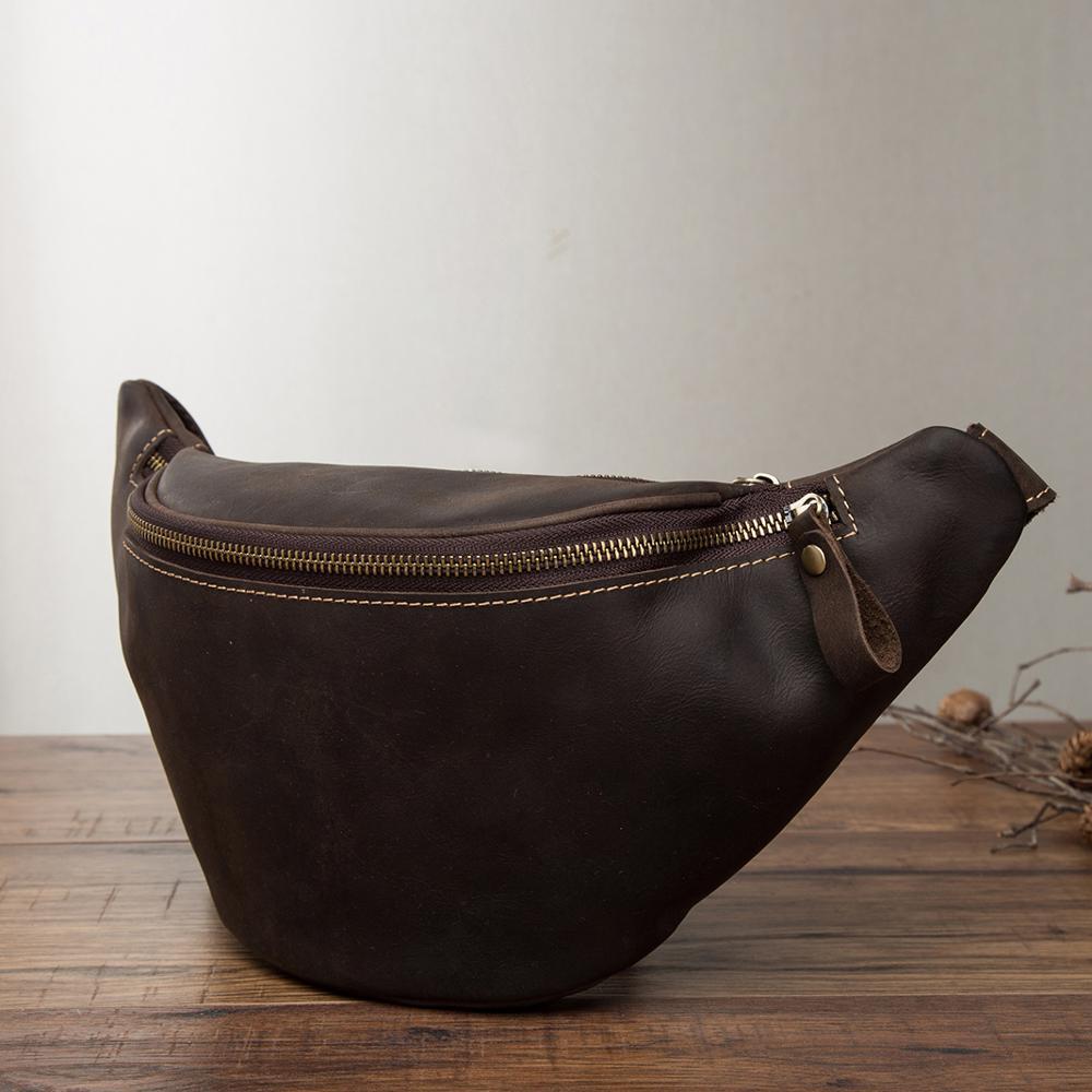 Quality Leather men Casual Design Waist Belt Bag Chest Pack Fashion Travel 7 Phone Cigarette Case