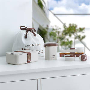 ONEUP Lunch-Box-Set Tableware Wheat-Straw Bento-Box Food-Container Microwavable Office