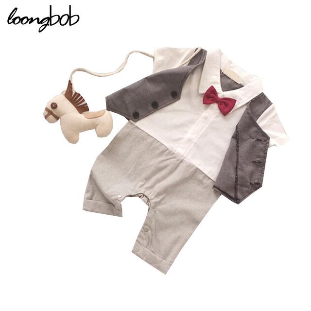 Nuevo bebé mameluco recién nacido bebe caballero pajarita trajes de verano de manga corta de los bebés de diseño clásico peleles 804A
