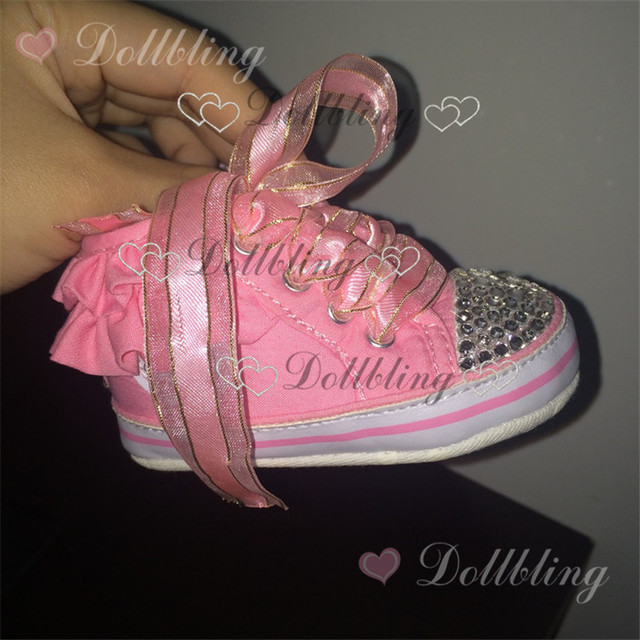 Blush Pink Princess soft first walkers sequins ribbon match clear Rhinestones weddling flower girl shoes 0-6M newborn baby shoes