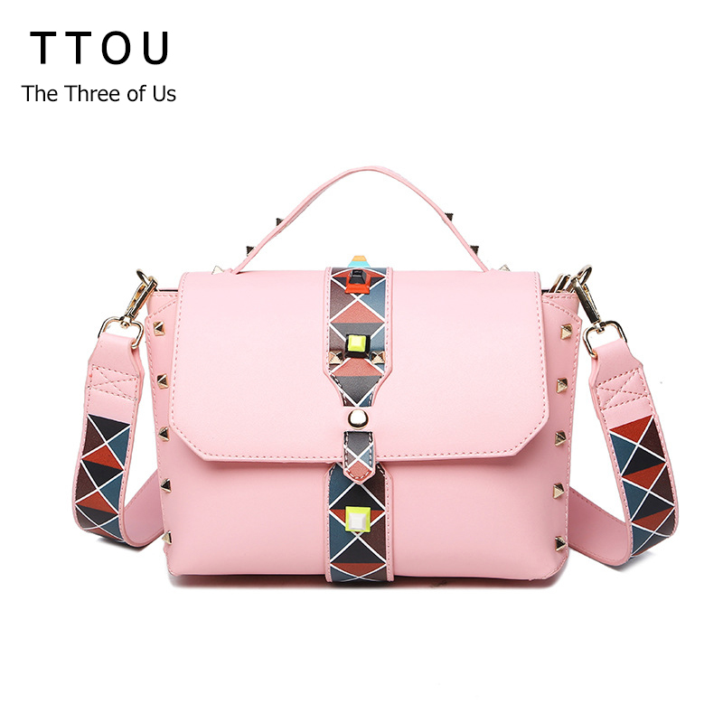 TTOU Women Designer Rivet Satchel Bag with Colorful Strap Fashion PU Leather Shoulder Bag Female High Quality Crossbody Bag