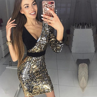 2018 neue Mode Frauen Schwarz und Gold Pailletten-kleid Sexy Lange Hülse der Schulter V-ausschnitt Bodycon Promi Party Kleider Vestidos