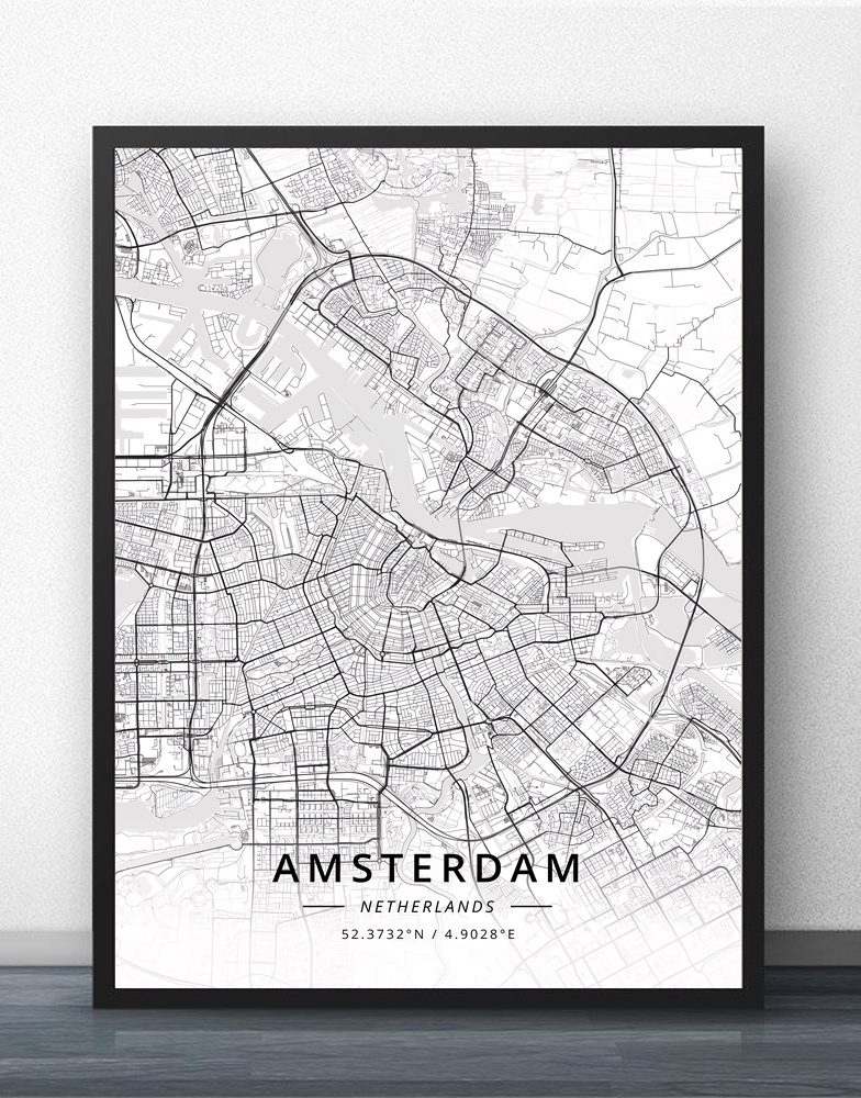 US $5.77 32% OFF|Amsterdam Eindhoven Fijnaart Leiden Rotterdam The Hague  Netherlands Map Poster-in Painting & Calligraphy from Home & Garden on ...