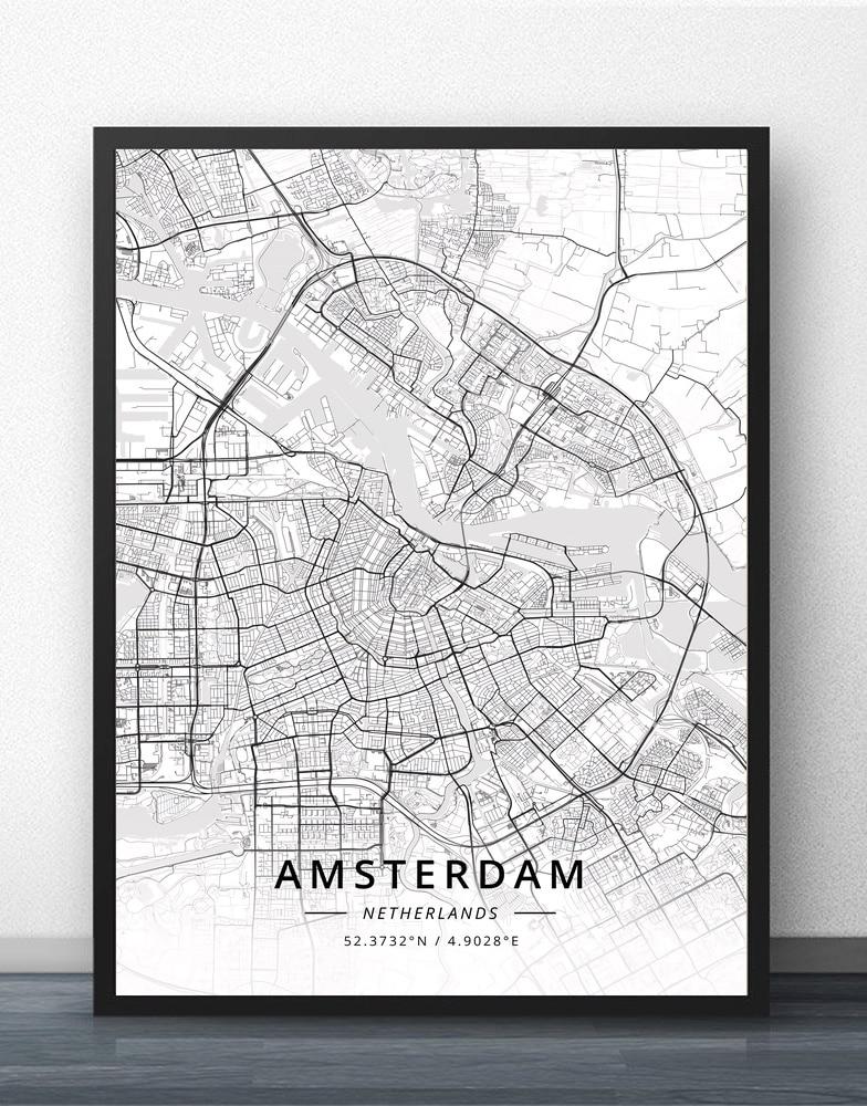 Amsterdam Eindhoven Fijnaart Leiden Rotterdam The Hague Netherlands Map Poster