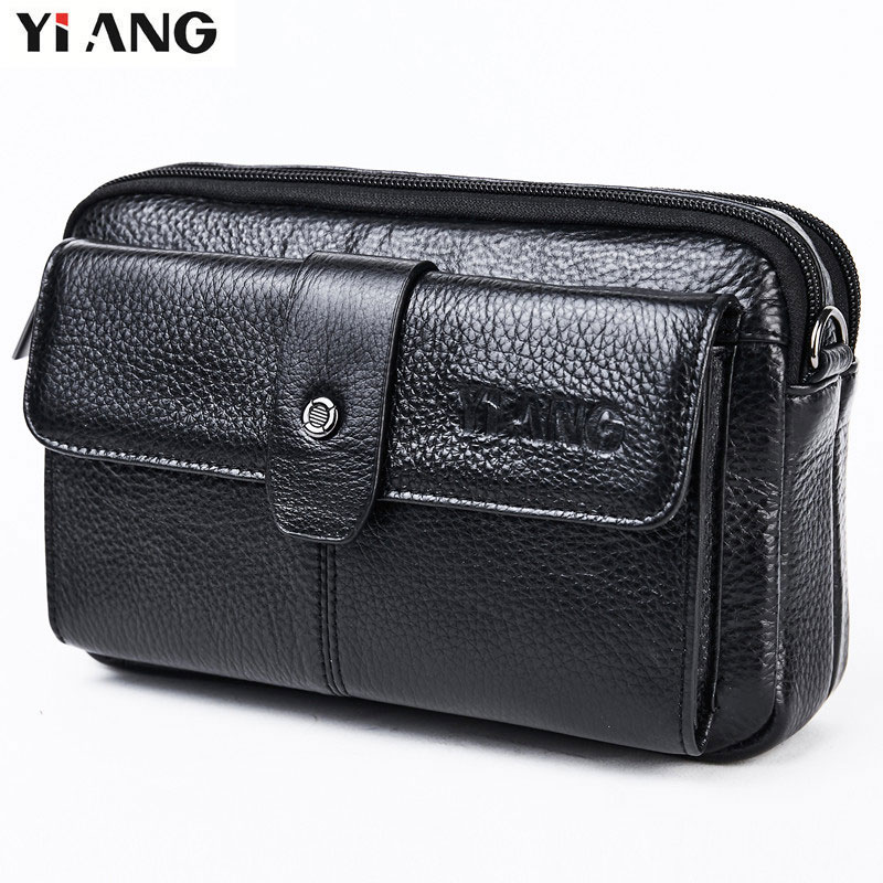 YIANG Brand Waist Bag Leather Fashion Genuine Leather Fanny Waist Bag Packs With Shoulder Strap Multi-function Mobile Phone Bag