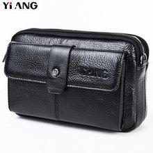 YIANG Brand talie din piele de moda piele Genuine din piele Fanny talie pungi sac cu curea de umăr Multi-funcția de telefon mobil sac