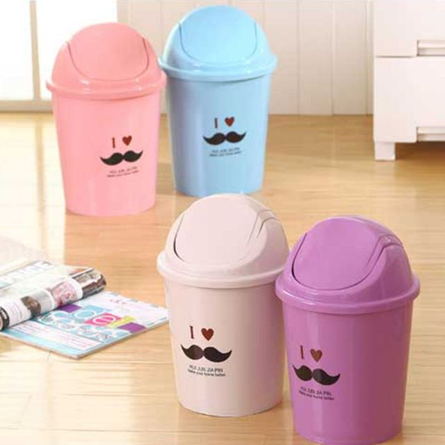 Creative Kitchen Bathroom Trash Cans Rolling Cover Type Plastic Waste Bins  Home Office Waste Paper Basket
