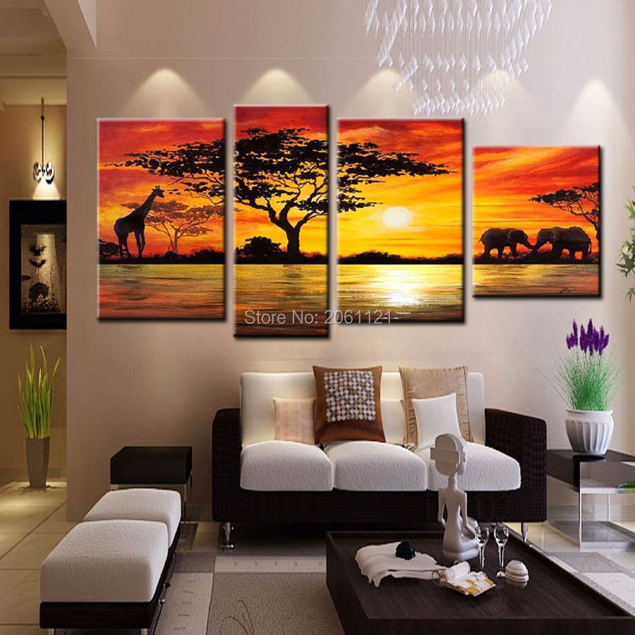 100 Hand made promotion african landscape CANVA PAINTING Abstract africa sunset HOME DECOR Oil Painting on canvas Wall art in Painting Calligraphy from Home Garden