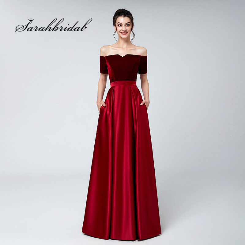 Burgundy Long Evening Dresses Off Shoulder Velvet Top Satin Floor ...