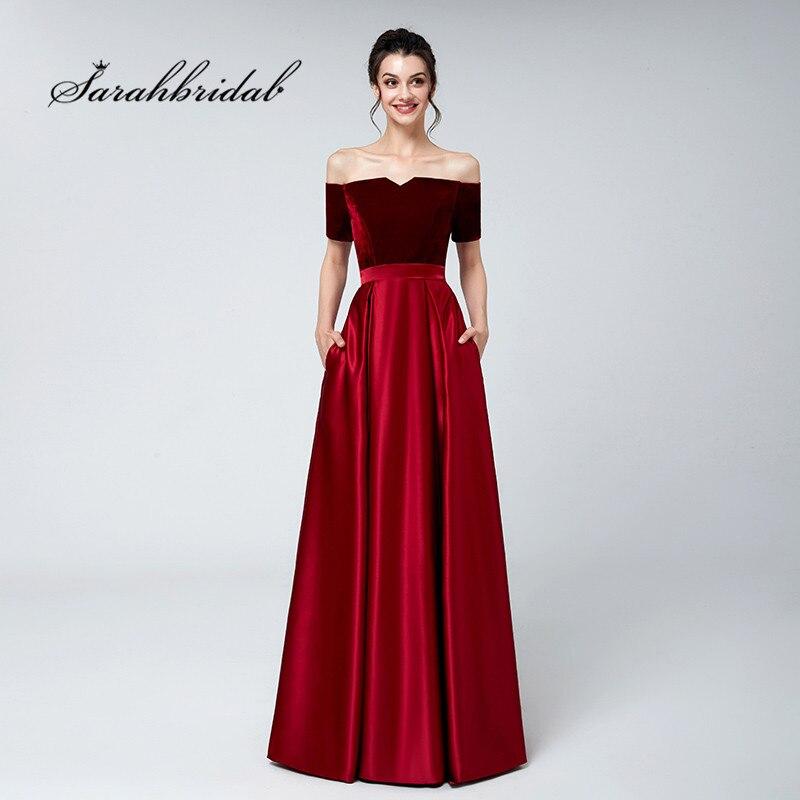 Burgundy Long   Evening     Dresses   Off Shoulder Velvet Top Satin Floor Length Party Formal Gowns Elegant Lace up Back 3117